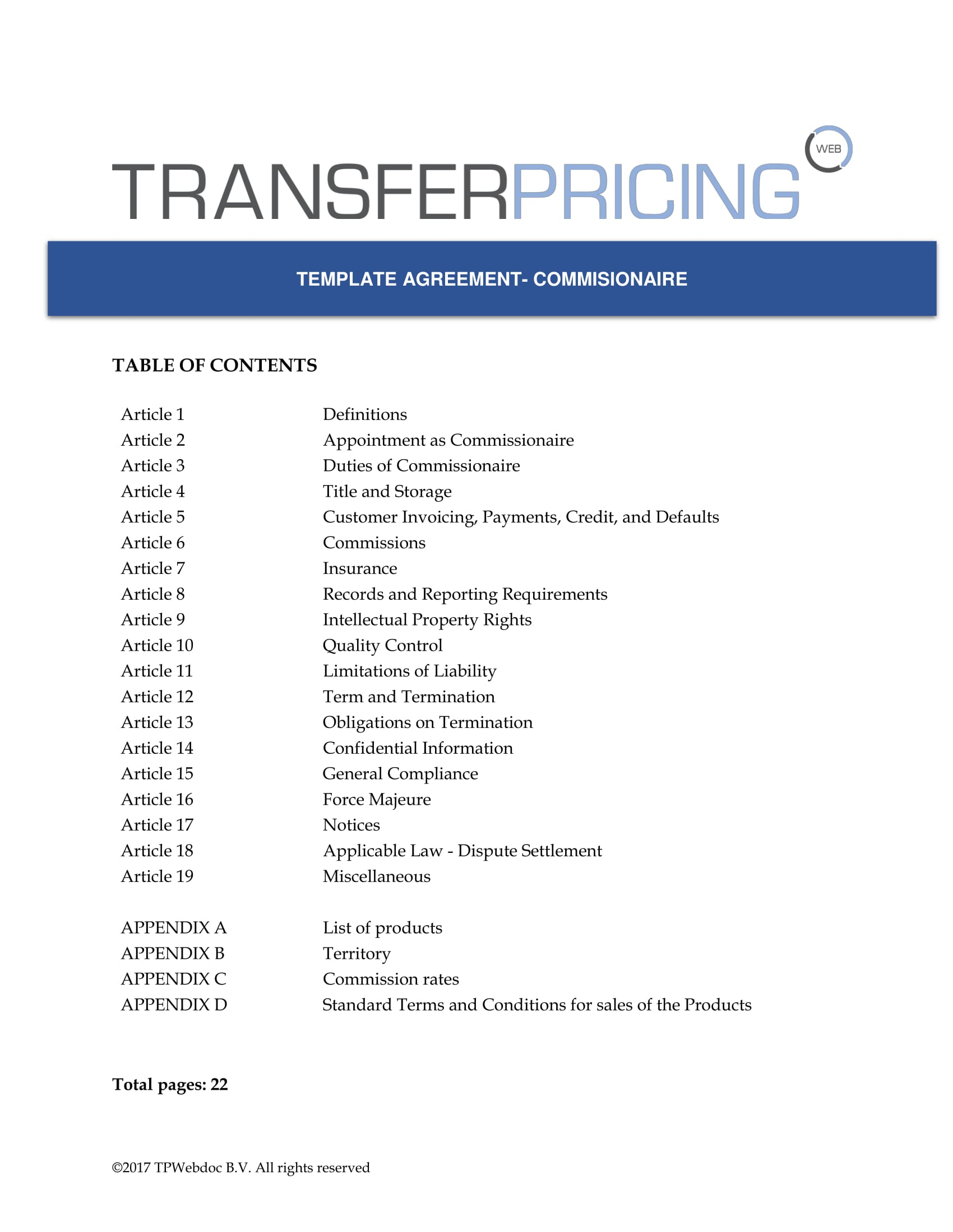 Missionaire Agreement Template Transfer Pricing Web