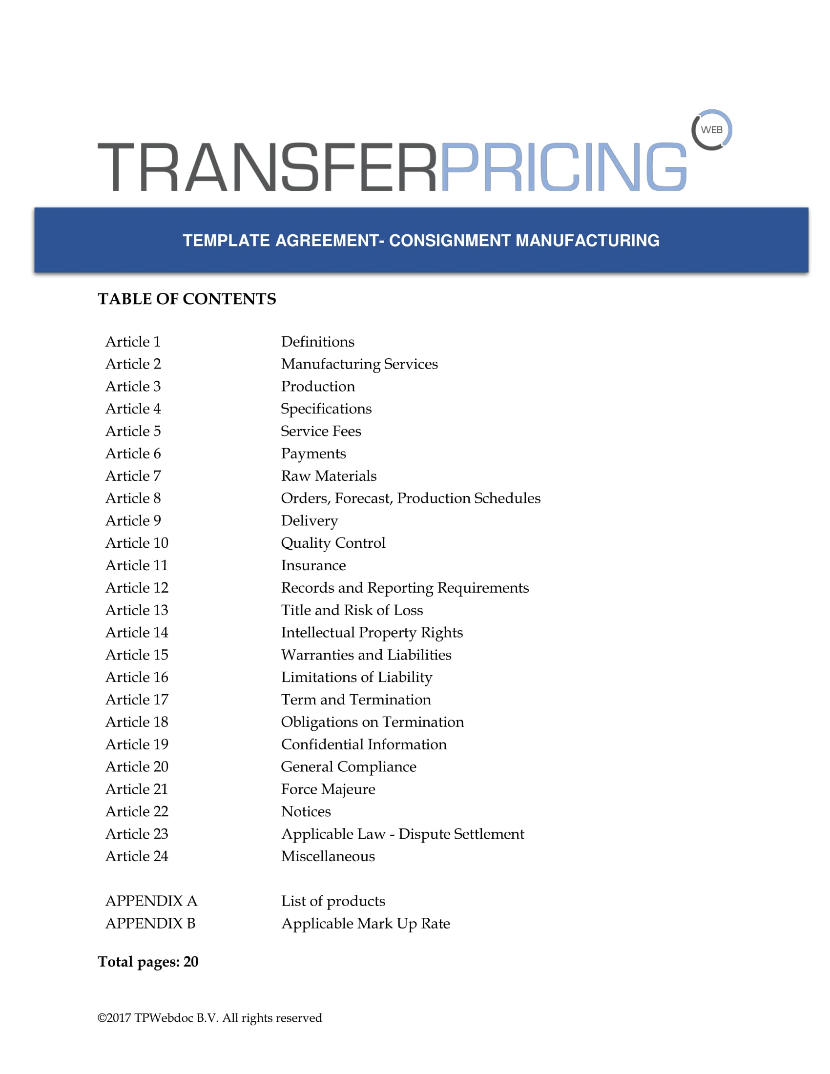 transfer pricing agreement template - consignment manufacturing agreement template transfer