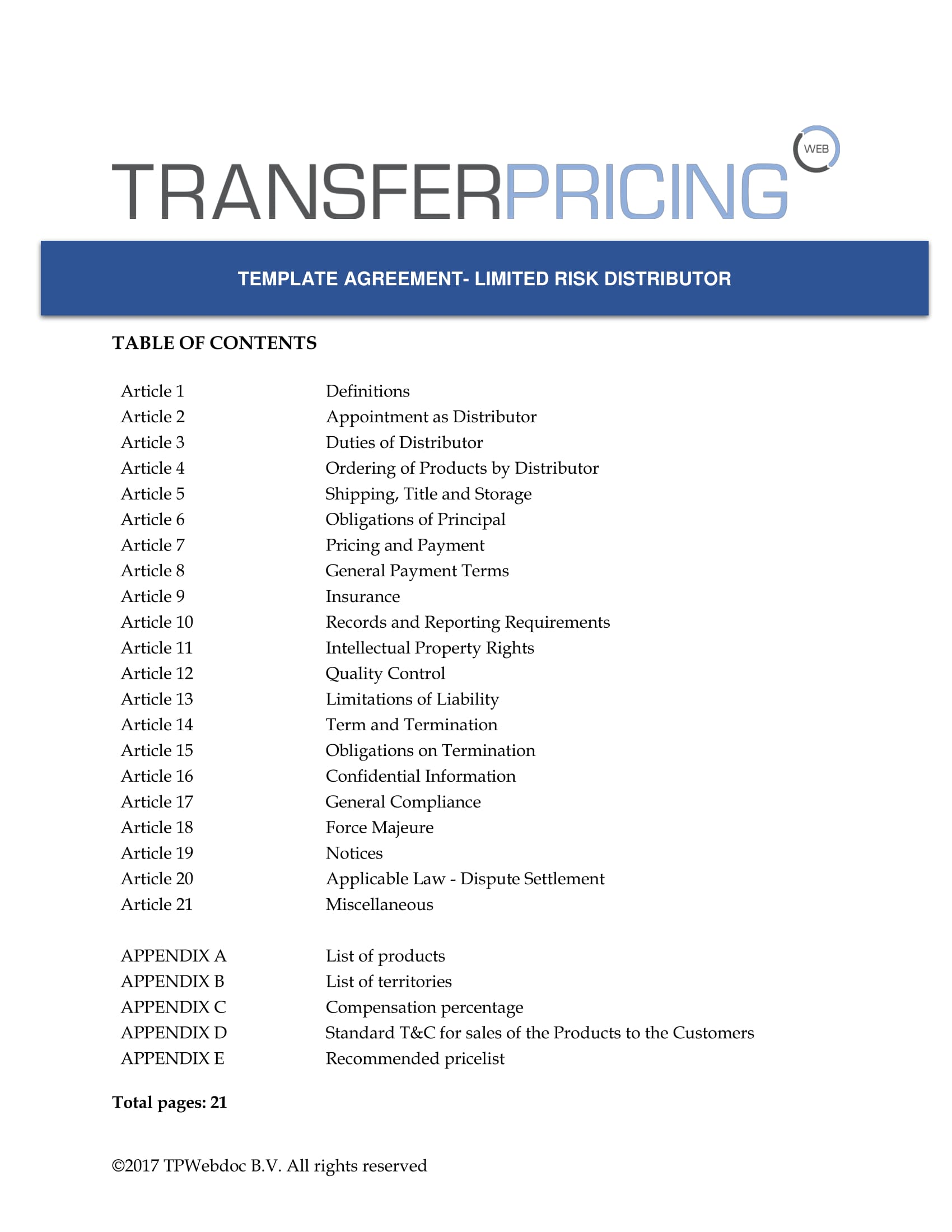 Limited Risk Distributor Agreement Transfer Pricing Web