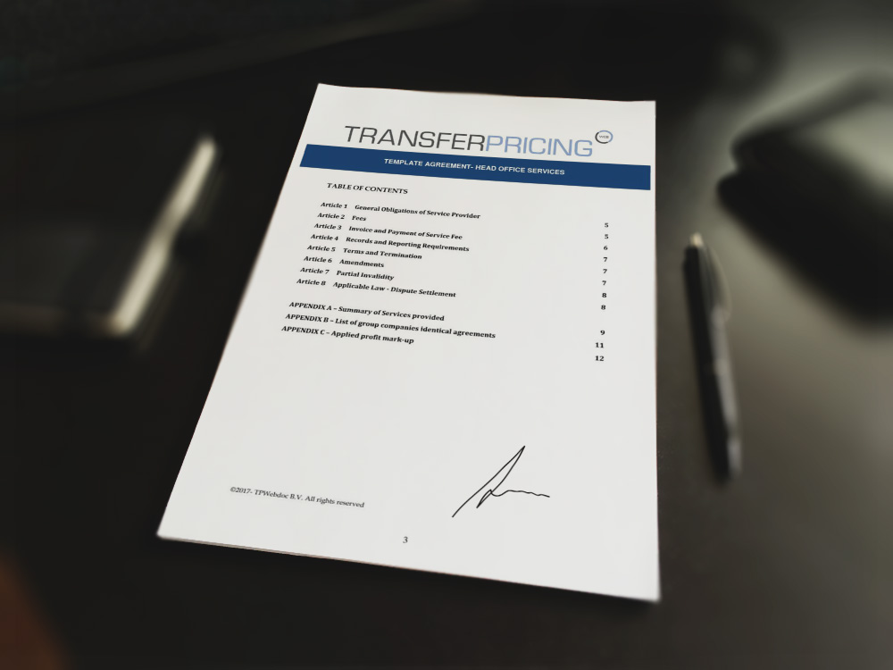 Head office services agreement template transfer pricing web for Transfer pricing agreement template