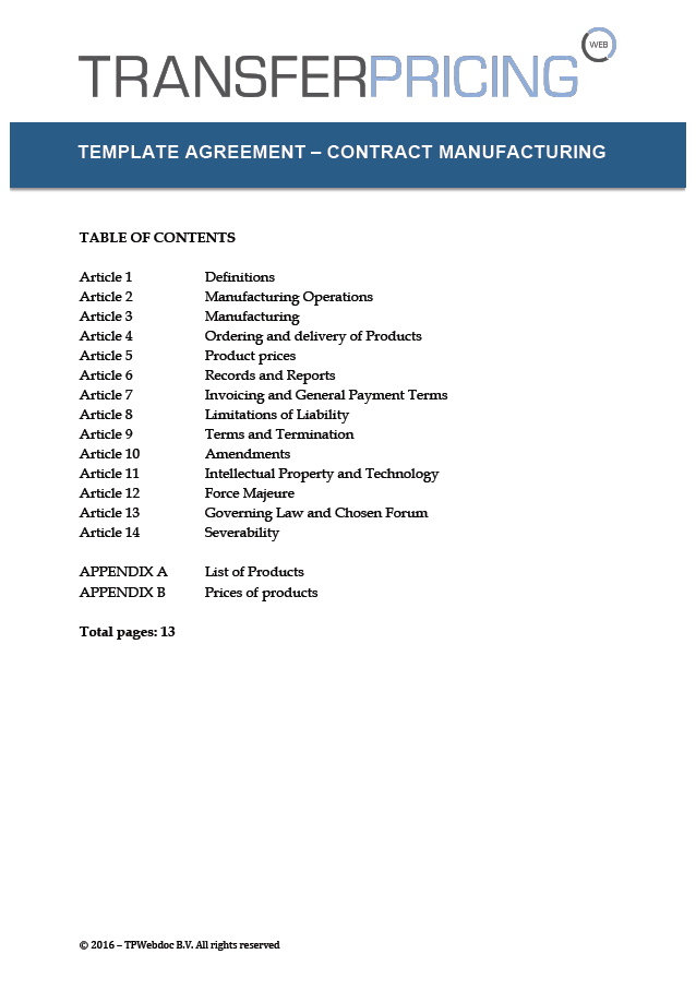 Manufacturing License Agreement Template Mandegarfo