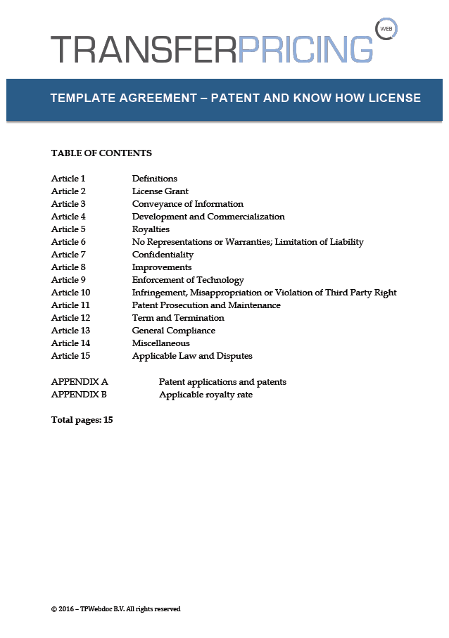 License agreement template for patents and know how for Product license agreement template
