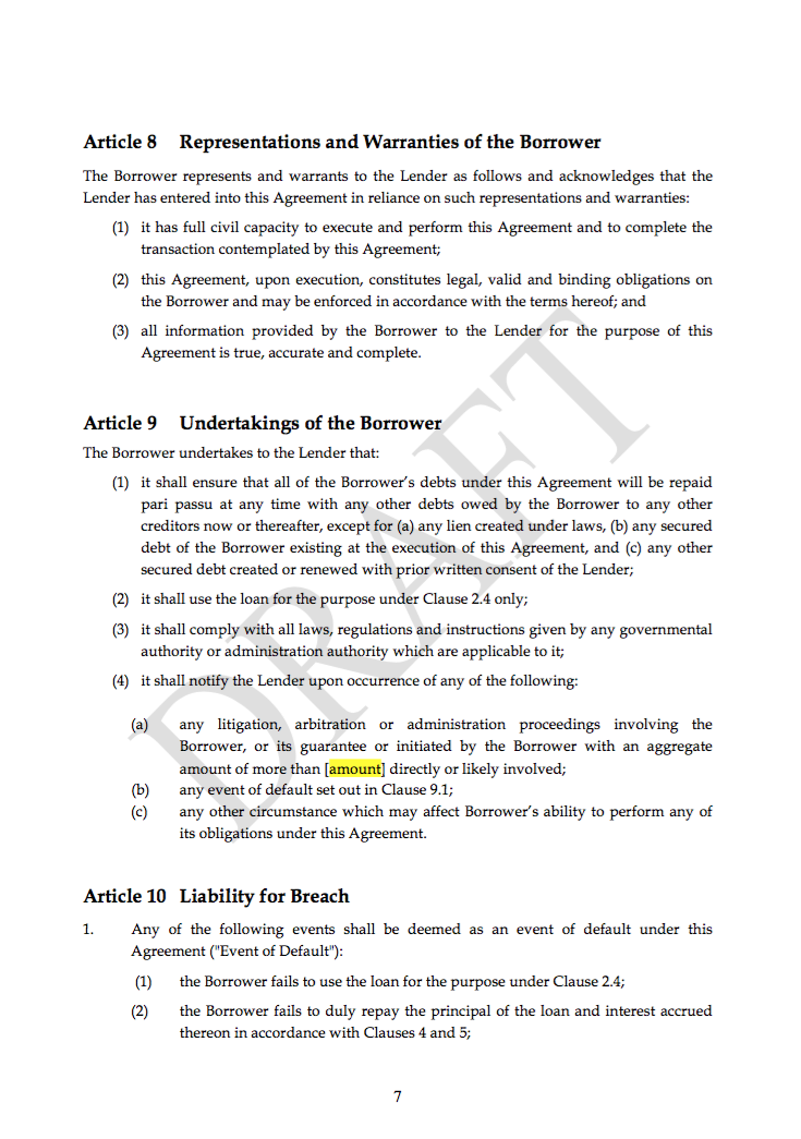 Loan facility template agreement transfer pricing web for Transfer pricing agreement template