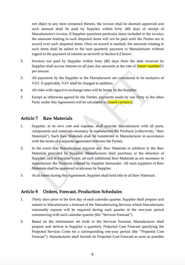 Consignment Manufacturing Agreement Template Transfer