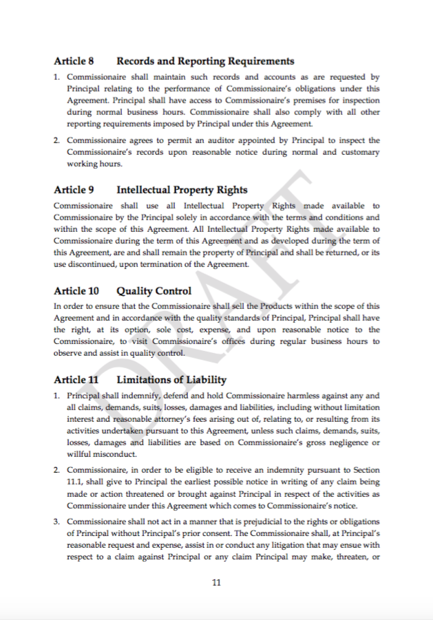 Commissionaire agreement template transfer pricing web for Transfer pricing agreement template