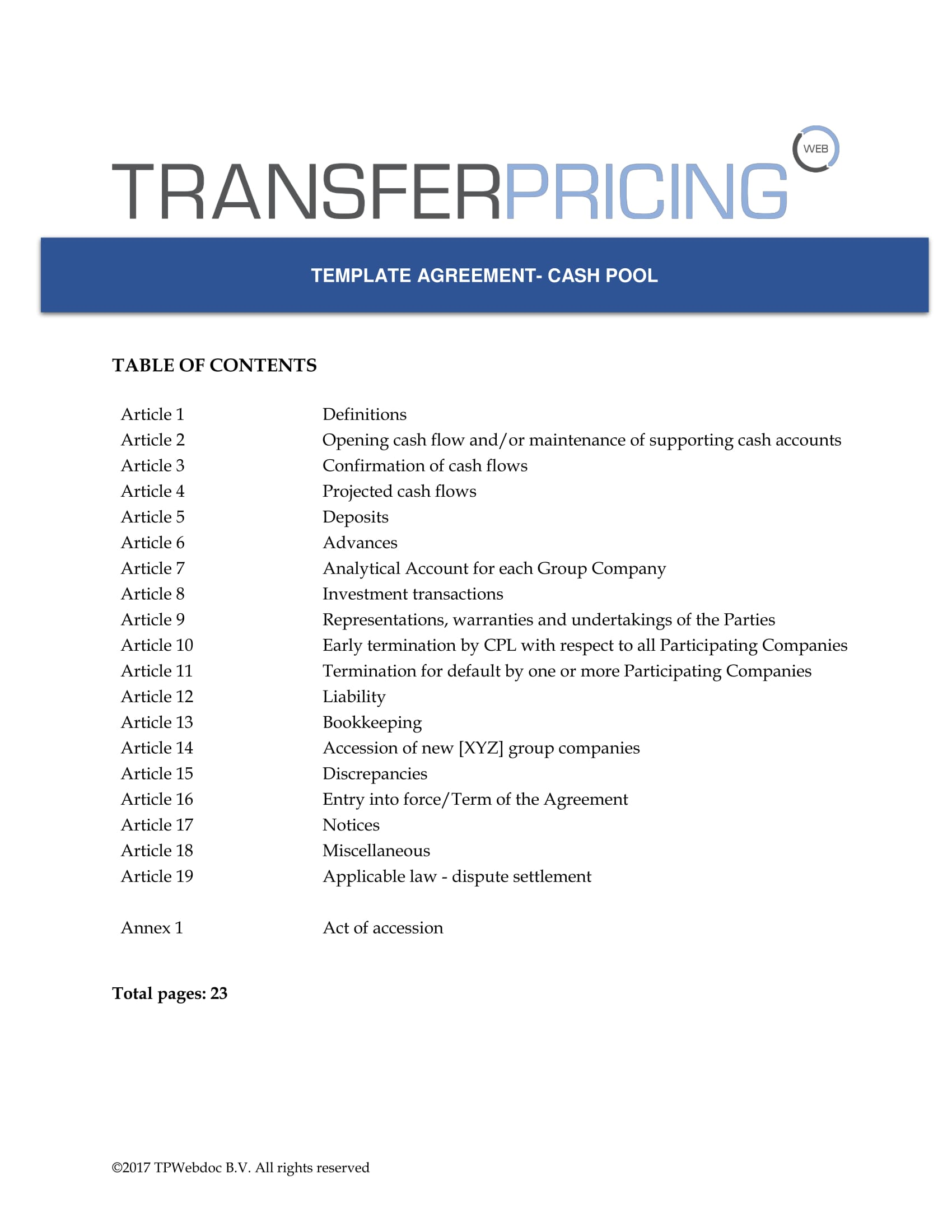 transfer pricing agreement template - cash pooling agreement zero balancing cash sweeping